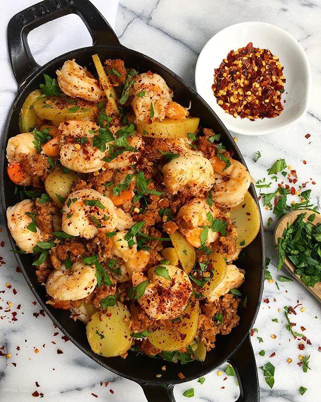 Crispy Chorizo Potatoes And Shrimp Paella
