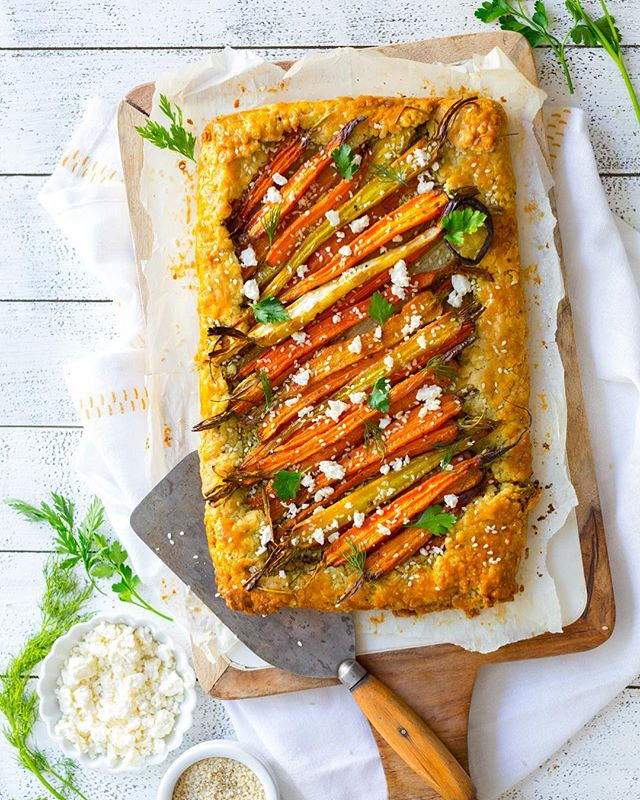 Savory Roasted Carrot Galette With Herbed Feta Sauce