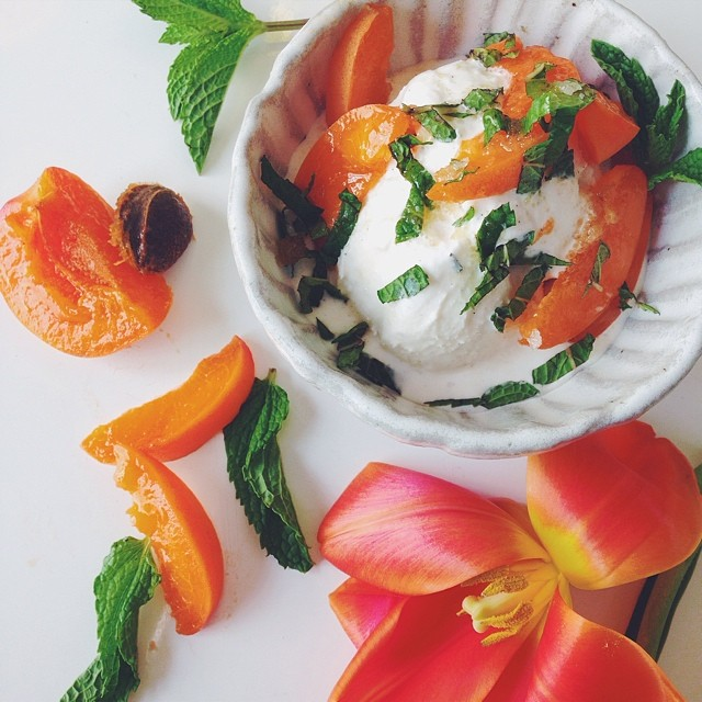 Apricots With Mint & Olive Oil Honey Syrup Over Vanilla Gelato