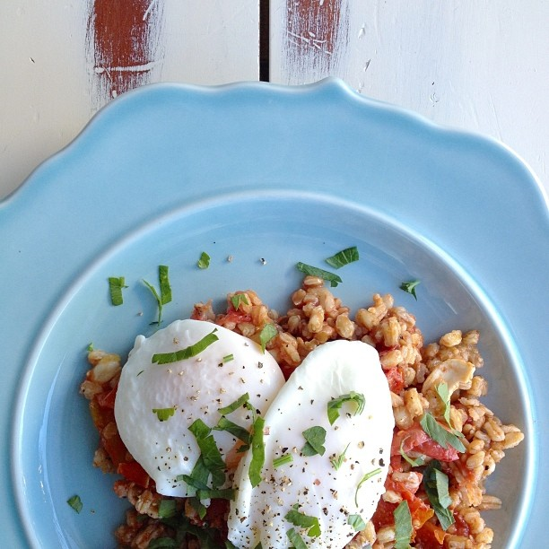 Wheat Berries With  Poached Eggs And A Roasted Tomato + Lemon Vinaigrette