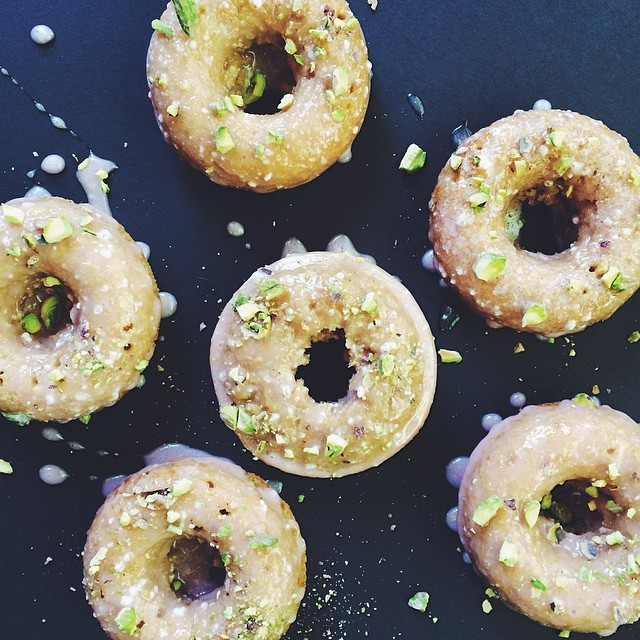 Rhubarb & Pistachio Baked Doughnuts