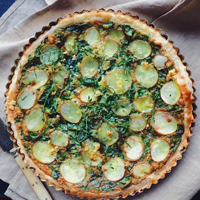 Spinach, Potato & Garlic Tart With Thyme, Gruyere & Parmesan
