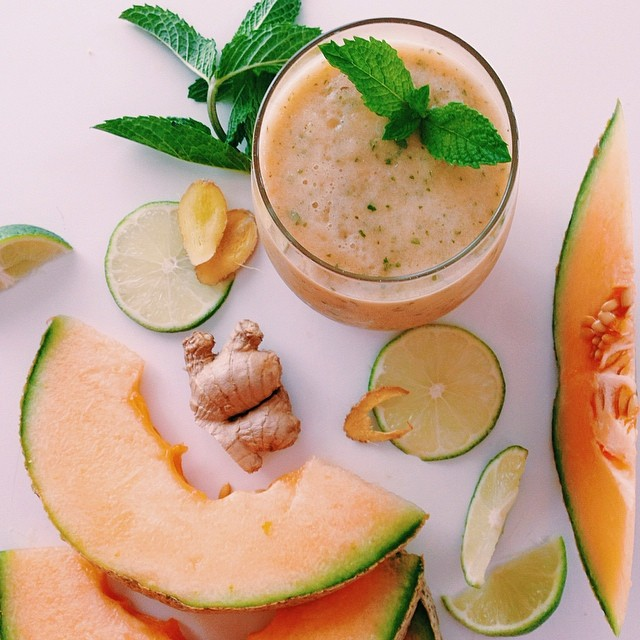 Cantaloupe, Lime, Ginger & Mint Juice