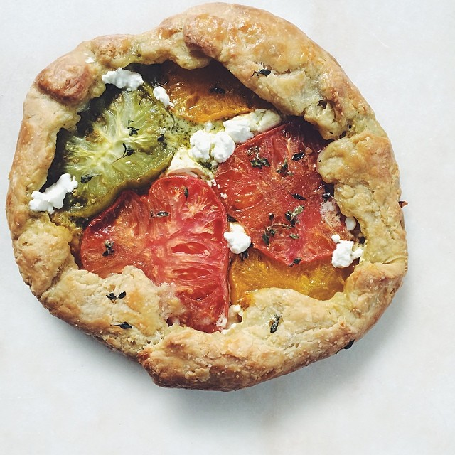 Heirloom Tamato Galette With Pesto And Goat Cheese