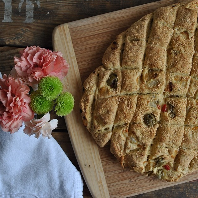 Rustic Onion And Olive Bread