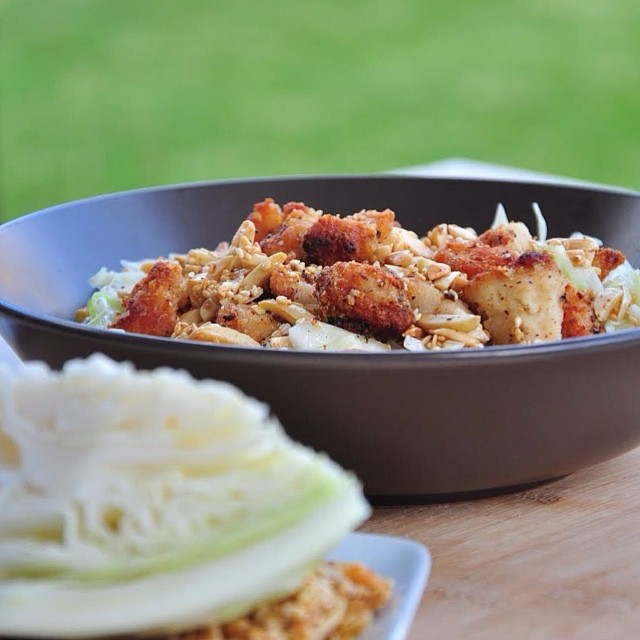 Cabbage Salad With Crispy Chicken