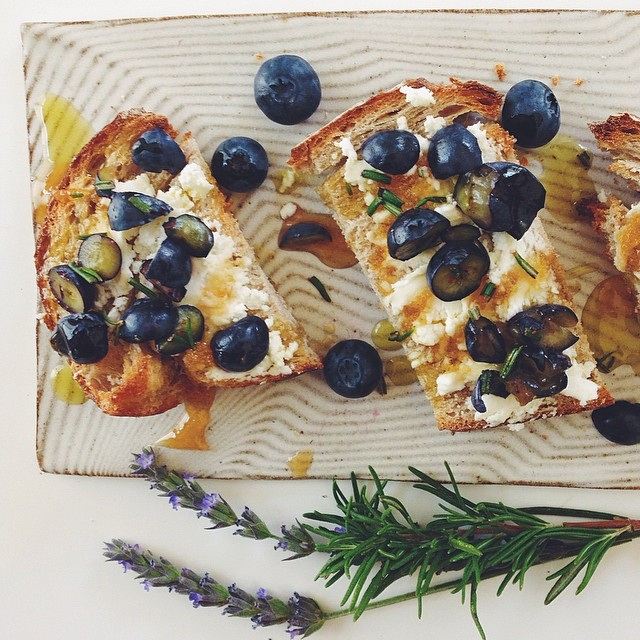 Blueberry & Rosemary Crostini With Honey And Olive Oil