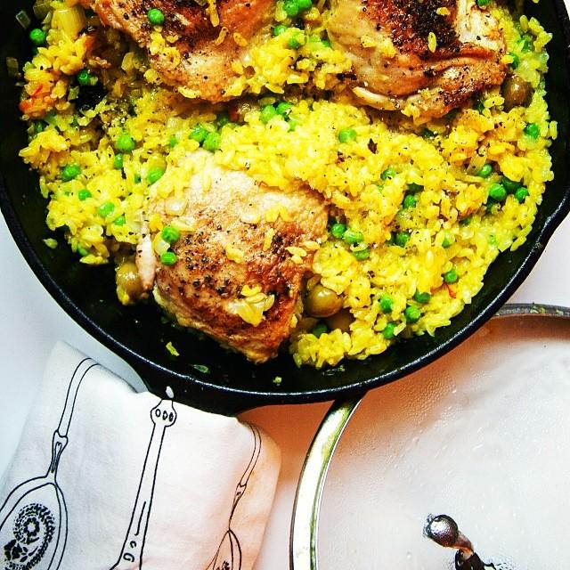 One Skillet Chicken And Saffron Rice
