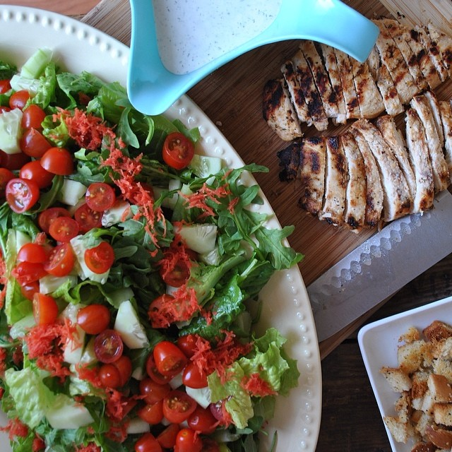 Homemade Ranch Dressing  & Croutons On Grilled Chicken Salad
