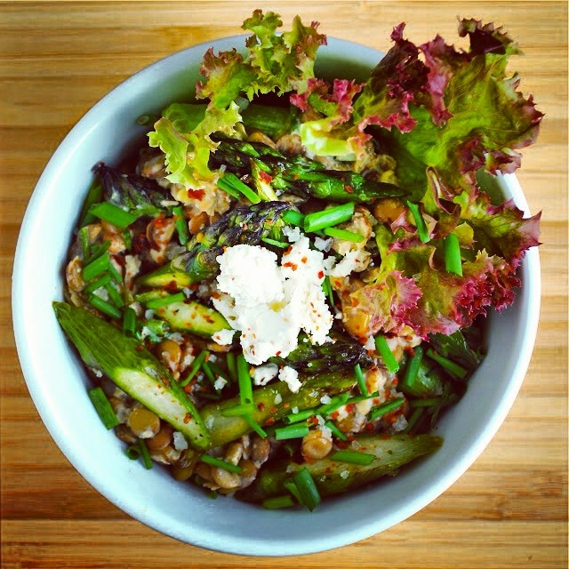 Cold Lentil, Asparagus & Goat Cheese Salad
