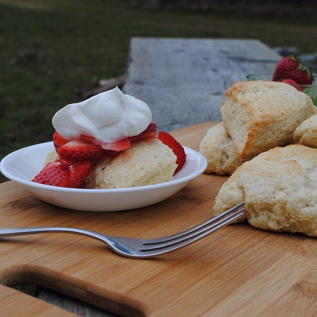 Buttermilk Biscuits with Strawberries & Cream