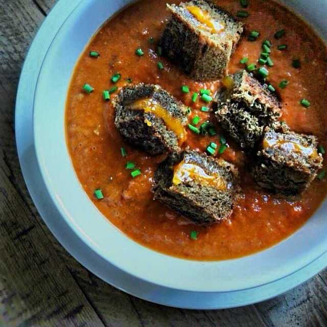 "Cream Of Tomato Soup With Grilled Cheese ""croutons"""