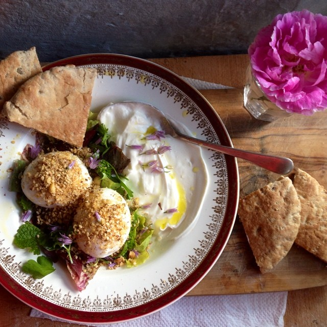 Dukkah Eggs With Garlic Yoghurt And Herb Salad