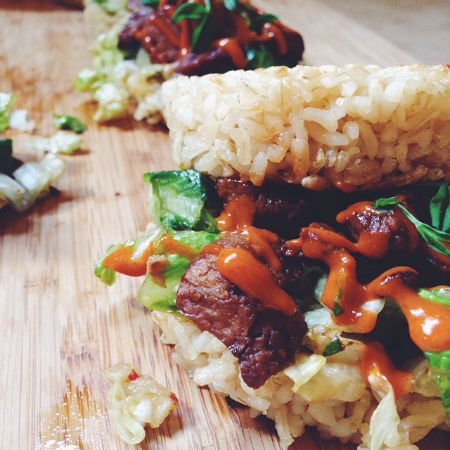 Korean Seitan Bbq Rice  Burger