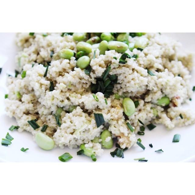 Couscous With Walnut & Edamame Garlic Scape Pesto