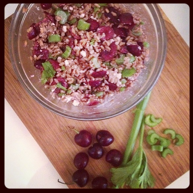 Salad Wtih Farro, Celery, Cherries, And Feta Cheese With Some Olive Oil And Lemon