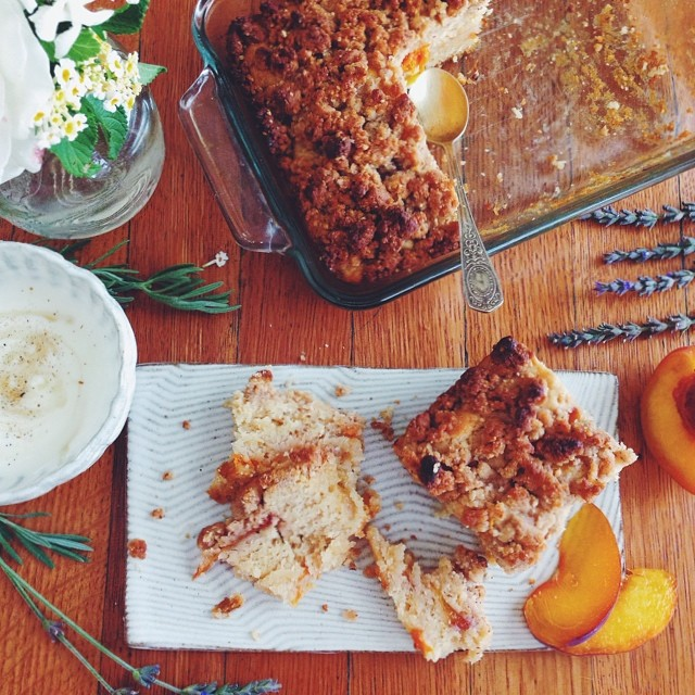 Apricot Peach Coffee Cake With Almond Streusel