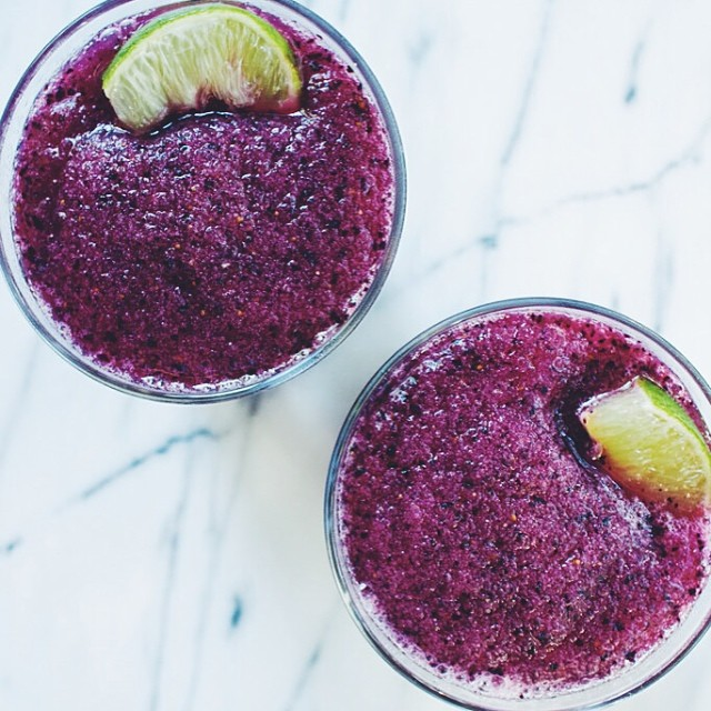 Rhubarb And Blueberry Vodka Slushies