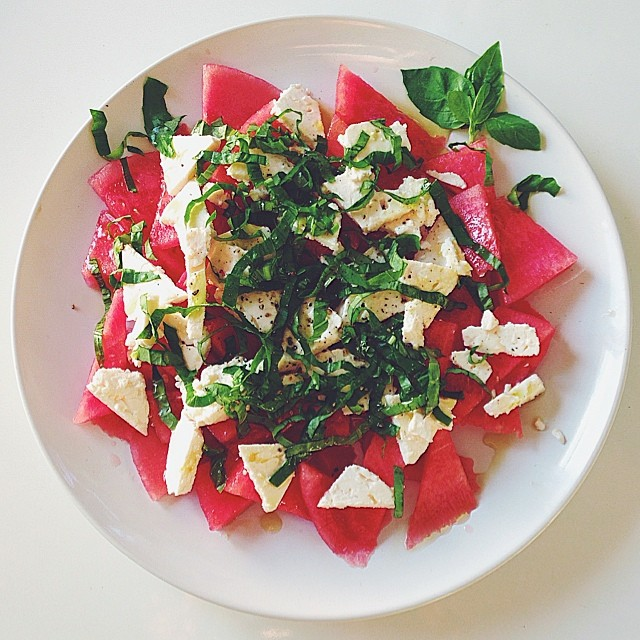 Watermelon Feta Salad With Fresh Basil