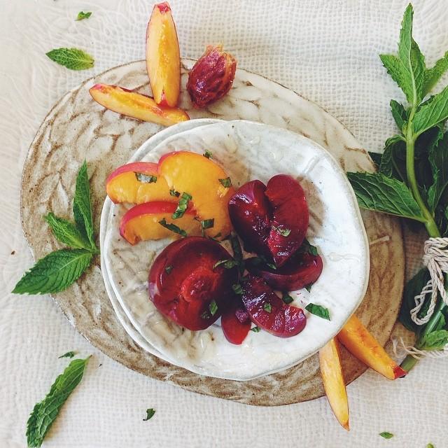 Satsuma Plums And Nectarines With Orange Blossom Honey, Mint & Maldon Salt Flakes