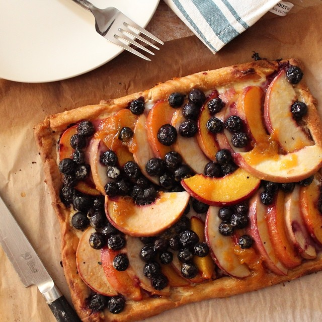 Peach & Blueberry Tart With Apricot & Ginger Jam