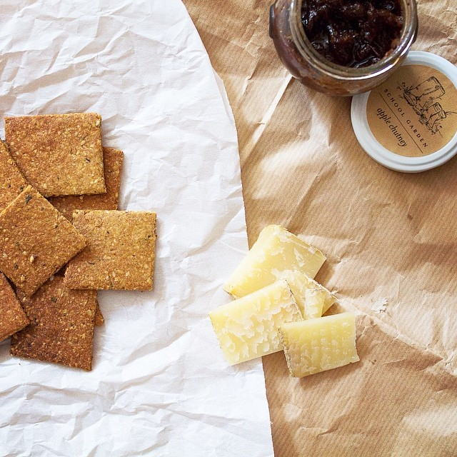 Nutty Rosemary Crackers With Cheese