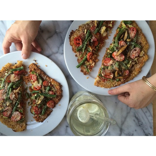 Cast Iron Skillet Baked Cauliflower & Quinoa Crust Pizza With Green Beans, Tomatoes, Shiitake Mushrooms, And Shredded Brussels Sprouts