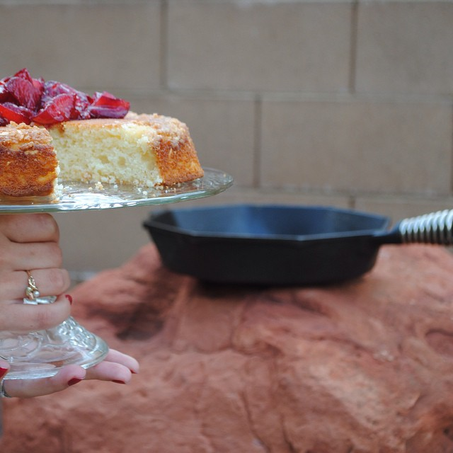 Almond Skillet Cake & Red Wine Plums
