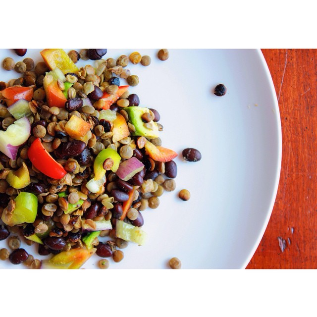 Lentil Black Bean Rainbow Bell Pepper Salad With Tomatillo Sauce