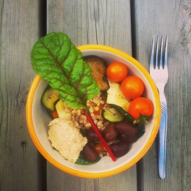 Cooked Wheat Berries With Carrot, Zucchini, Lemon And Thyme + Tomatoes, Olives, Hommus, Grilled Aubergine And Chard