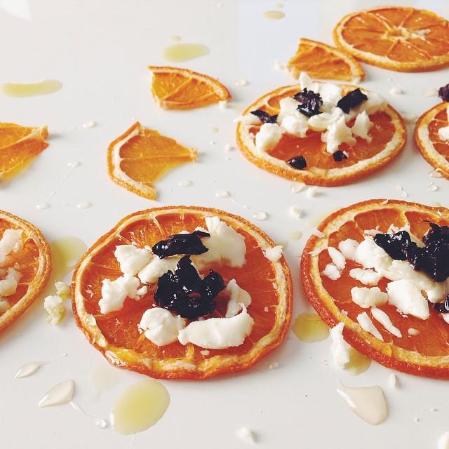 Orange Crisp Sliders With Chèvre, Oil-cured Olives, And Orange Blossom Honey