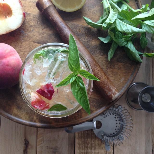 White Peach Basil Bourbon Cocktail
