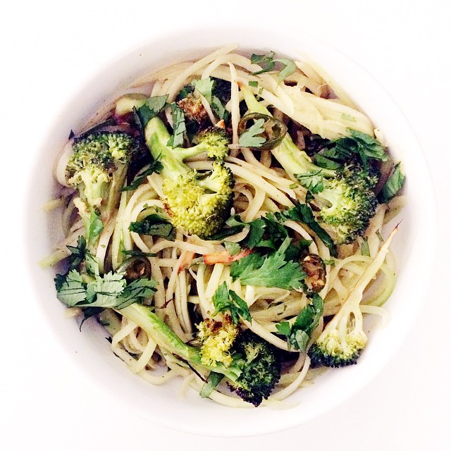 Spicy Broccoli Cucumber Noodles With A Tamari & Almond Butter Dressing