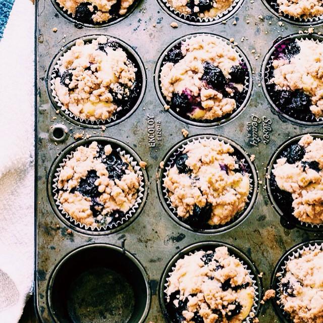 Buttermilk Blueberry Crumb Muffins