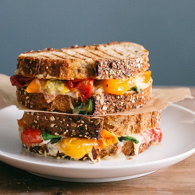 Roasted Cherry Tomato & Basil Grilled Cheese