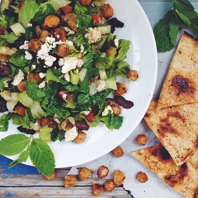 Greek Chopped Salad With Cumin Fried Chickpeas