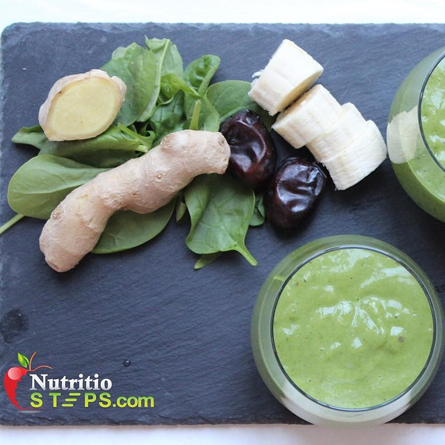 Thick Green Ginger Banana Smoothie