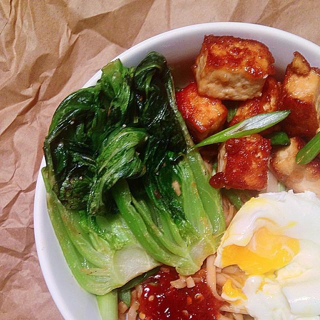 Miso Udon + Tofu + Bok Choy + Poached Egg + Sambal