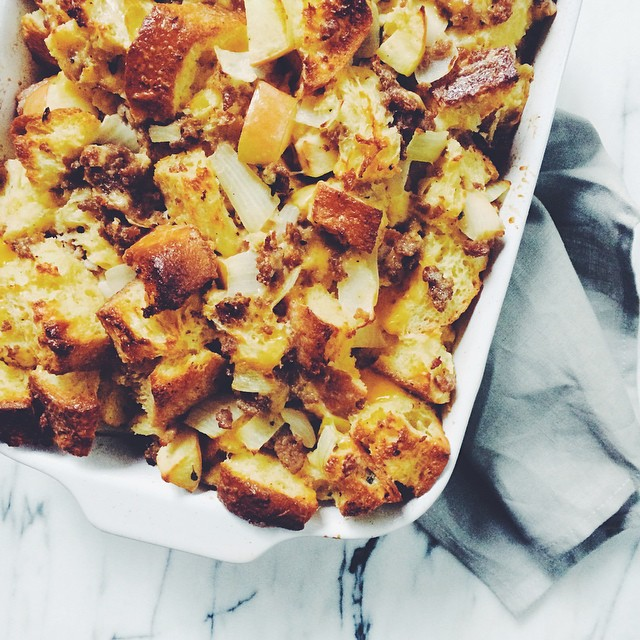 Savory Bread Pudding With Sausage, Sage And Honeycrisp Apples