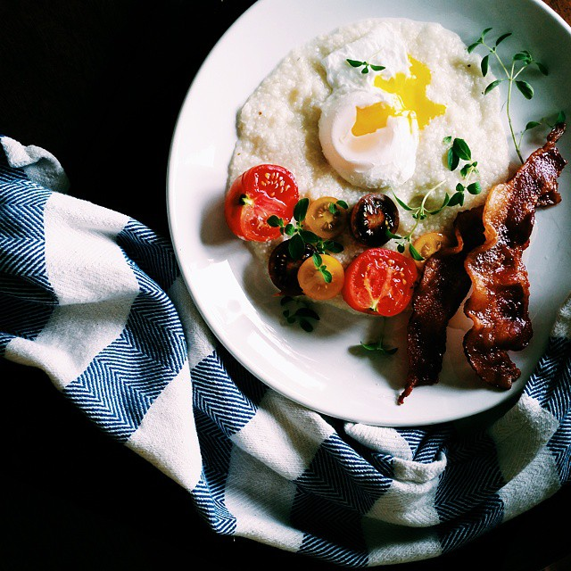 Grits With Poached Egg And Cherry Tomatoes