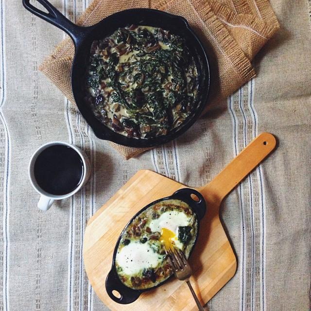 Creamed Mushroom & Swiss Chard Baked Eggs