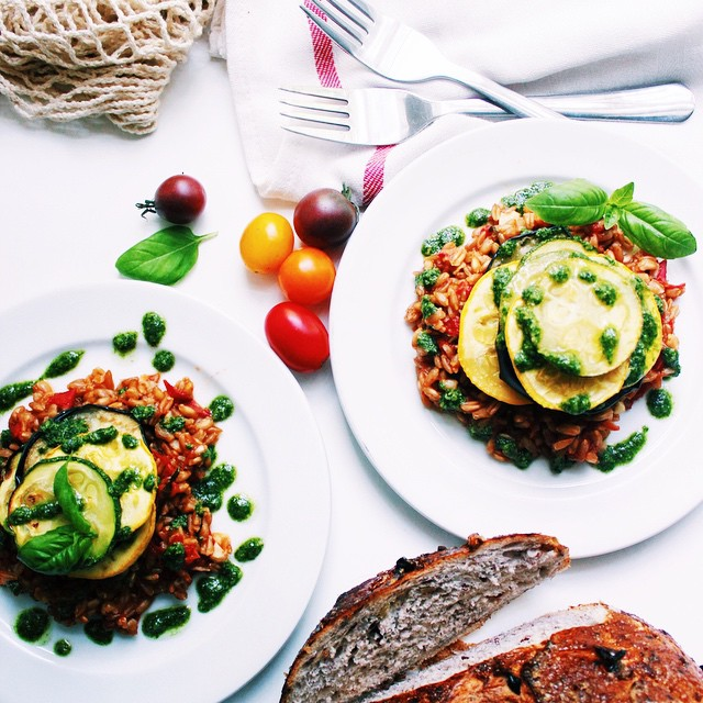 Tomato & Basil Farro Vegetable Stacks