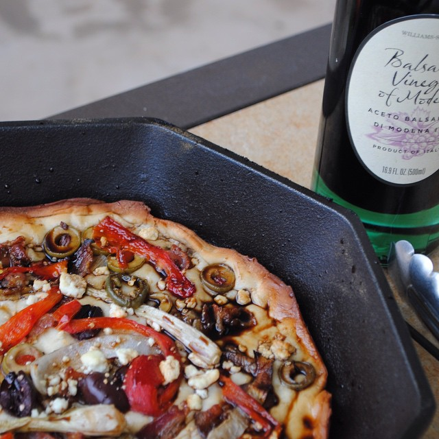 Traeger Grilled Flat Bread Pizza with Balsamic Vinegar