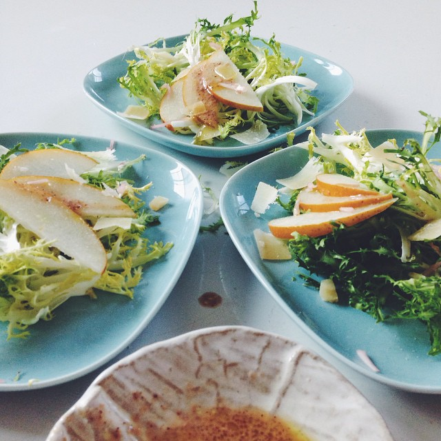 Frisée & Asian Pear Salad With Quick Pickled Onions And Pecorino