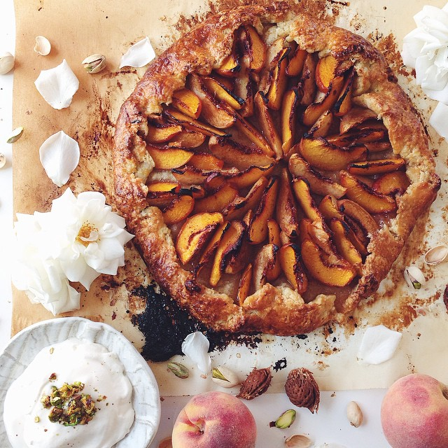 Peach Galette With Honey Vanilla Pistachio Brittle & Cardamom Rose Whipped Cream