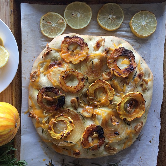 Roasted Garlic, Lemon, Squash And Onion Focaccia Bread Pizza