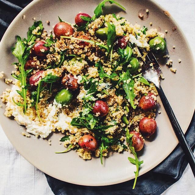 Roasted Grapes, Arugula, Olive Quinoa Salad