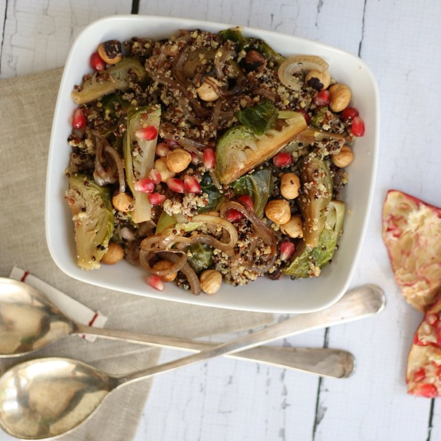 Balsamic Glazed Brussels Sprouts Quinoa Salad With Hazelnut & Pomegrante