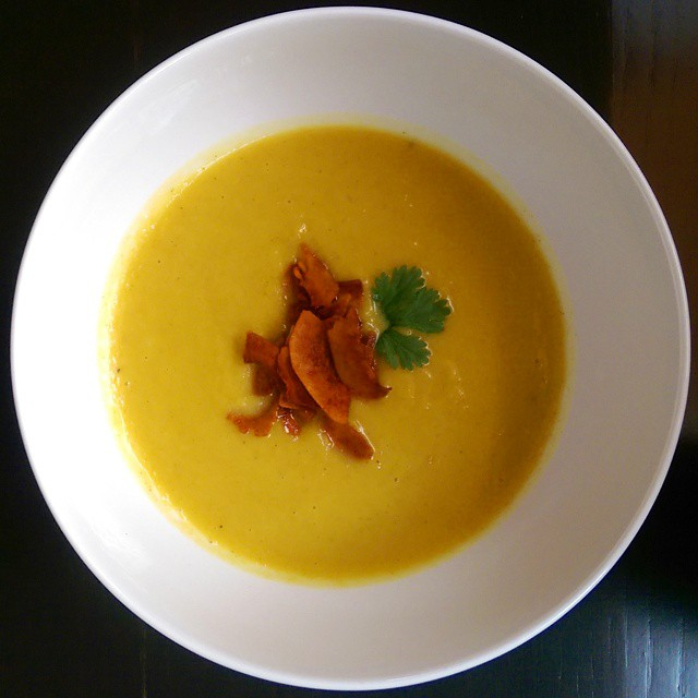 Curried Acorn Squash Soup with Cilantro & Coconut Bacon