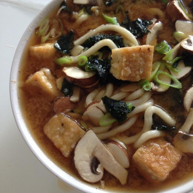 Japanese Udon, Tofu, And Wakame Miso Soup